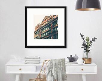Soho, New York, Architecture, Black and White Photography, Wall Art, NYC, Manhattan, windows, urban, city,  New York Print, 5x5, 8x10