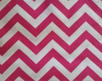 Pink Fushia and White Chevron Cotton Fabric Nursery Girl Baby