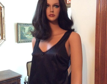 1970's Vintage Black Nylon Camisole for dress or t-shirt - size small