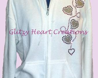 4 Heart Design Hoodie, Rhinestone Full Zip, Womens Crystal Full Zip, Womens Hoodie, Rhinestone Decorated, Ladies Full Zip, Bling sweatshirt