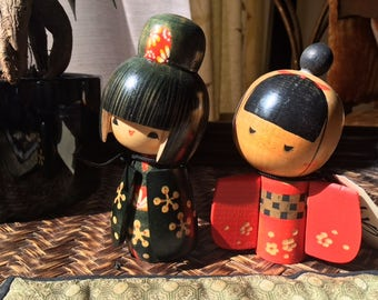 Vintage Japanese wood kokeshi dolls from the early 1980's