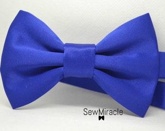 Blue Satin Bow tie - Mens bow tie - Child bow tie - Baby bow tie - Wedding - Royal blue - Christmas - Prom - Graduation