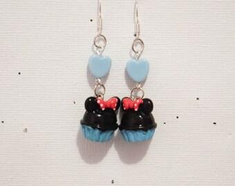 """Blue Cupcake"" earring Pearl Heart"
