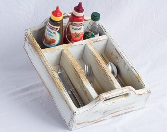 Silverware Caddy and Condiments Holder - Wooden - 4 Compartments - Raised Side Handles