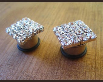 "Sparkling Rhinestone Quadrilateral on stainless steel Wedding EAR TUNNELS plugs gauge 2g, 0g, 00g, 1/2"" aka 6mm, 8mm, 10mm, 12mm"