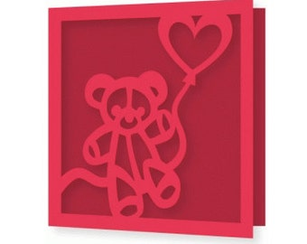 I can't Bear to be without your Love Valentine Day Card , blank , Free confetti , spouse , men , women , hearts , red