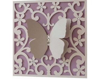 Butterfly 3D Card , Blank inside , Free Confetti , Flowers , Rhinestones , Spring , Elegant , Papercut