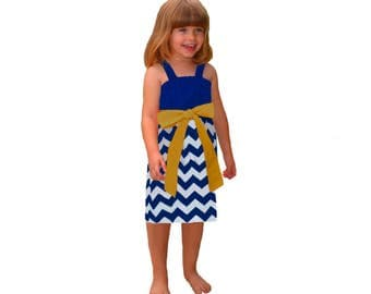 Blue or Navy + Gold Chevron Game Day Dress- Girls