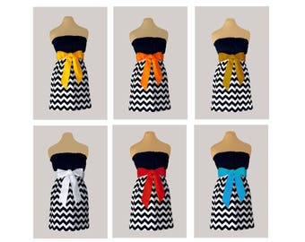 Pack of 6 Black Chevron Dresses - Any Combination of Sash Colors