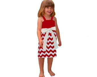Red + White Chevron Game Day Dress- Girls