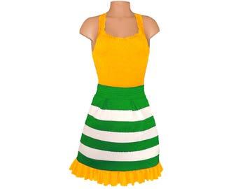 Green + Bright Gold Stripe Scuba Skirt