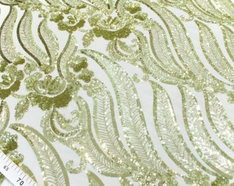 Green gold floral sequin lace fabric #4045