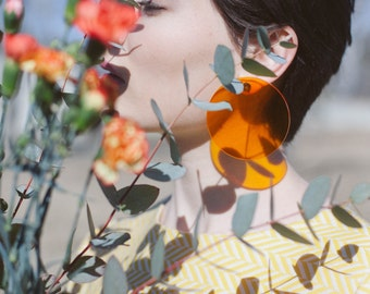 Transparent Orange Earrings / Clip On Earrings