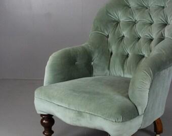 Victorian Green Button Back Armchair