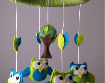 Owl Mobile - Tree Mobile - Custom Mobile (not ready made) - Ships in approximately 3 weeks