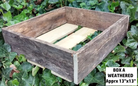 "Weathered Wood Crates, 13"" x 13"" x 4"", Ships next day, Upcycled wood table display and box"