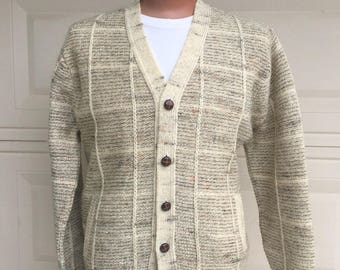 Oatmeal Tweed Cable Pendleton Sweater Cardigan w/Pockets LIKE NEW Size Large
