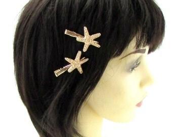 2 x Gold Starfish Hair Clips Grips Mermaid Fancy Dress Ariel Beach Boho Sea 748