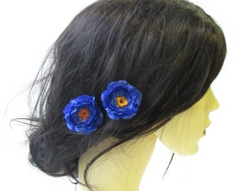 2 x Royal Blue Wildflower Blossom Flower Hair Pins Bridesmaid Floral Vtg 1565