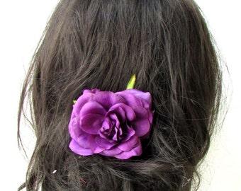 Purple Rose Flower Hair Comb Bridesmaid Floral Rockabilly Bridesmaid Vtg 1933