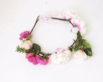 Girls Toddler Kids Bridesmaid Light Hot Pink Rose Flower Headband Garland 2405