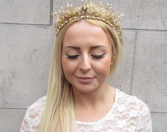 Gold Ivory Blush Pink Pearl Tiara Crown Hair Vine Bridal Headpiece Headband 2509