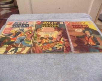 3 Vintage/ 1960's Billy the Kid comic Books