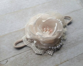 Small ivory couture headband