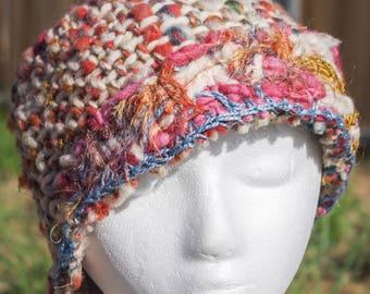 Handspun, Freeform Crochet and Handwoven Cloche Hat