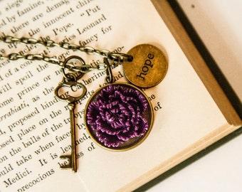 Dark Purple Necklace, Flower, Vintage Inspired, Antique Bronze, Chain Necklace