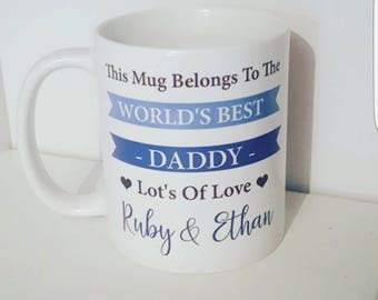 Worlds best dad - Father day - Mug - Handmade - Daddy - personalised gift - blue - The Mug Belongs To - Gift For Him - Handmade -