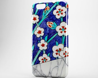Moroccan Flower iPhone 7 Plus Case White Marble iPhone 6 Plus Case iPhone 7 Cover iPod Marble Galaxy Case Gift for Her iPhone 5 Case Xperia