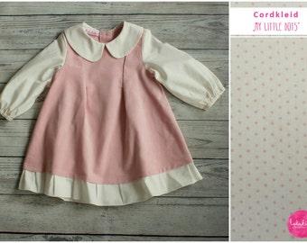 Baby girl dress cord pink dots dress baby dresses cotton dress girls dress long sleeve dress corduroy