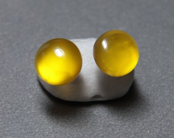 10mm Yellow Onyx Gemstone Post Earrings with Sterling Silver