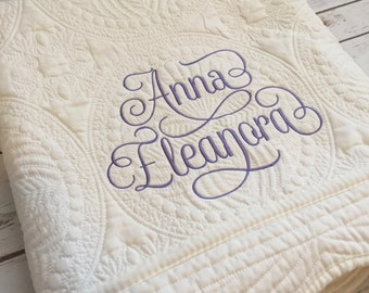 Embroidered Baby Quilt - Shower Gift - Elegant Baby Gift - Personalized Quilt