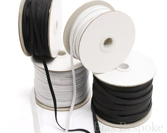 50 Yard Roll of Braided Elastic, 5mm and 10mm, Black and White