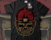 American Football Skull Face Men Black White Grey Red Royal Blue Tshirt S5XL NEW  Wellcoda d2145