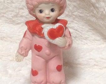 Adorable Vintage Clown Valentine Figurine, Vintage Valentine Figurine, Valentine's Figurine, February Valentine Figurine, Valentine's Statue
