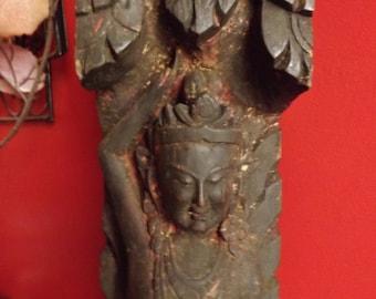 Ancient sculpture wooden Newari, support beam, Guhyesvari, ancient art of the tantrism of the valley of Kathmandu Nepal XIXth century