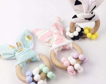 Bunny ear silicone wooden teether