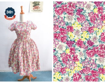 """SAMPLE SALE! Dorothy Dress  """"Delicate Blossoms"""" Retro Pink and Yellow Floral Pattern"""