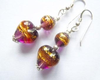 Purple and gold Murano glass earrings.