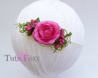 Hot Pink flower Headband, Hot pink flower headband, Girls flower Headband, baby flower headband, newborn flower headband,
