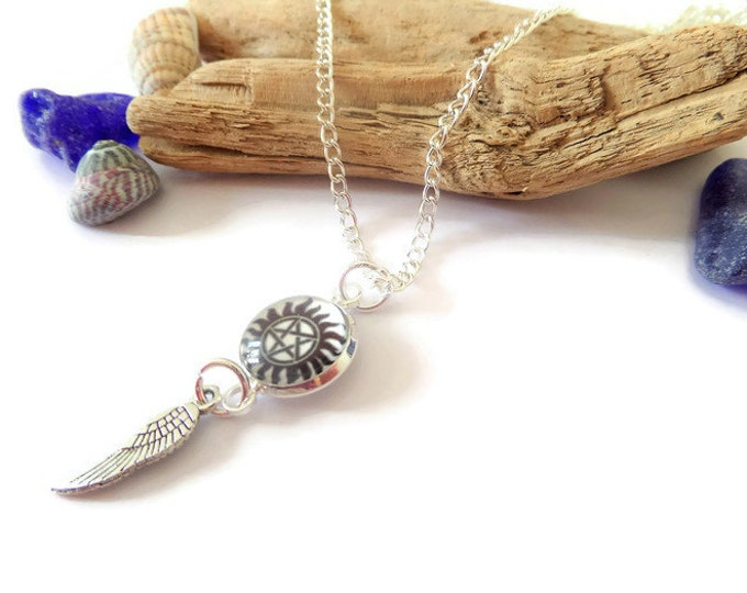 Pentagram 12mm cabochon necklace with an angel wing charm on a silver chain supernatural fan gift jewellery Uk