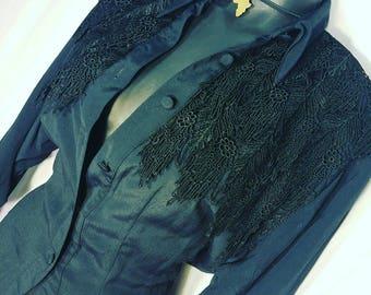 Vintage Crochet Lace Covered Button Down Black Shirt Size S