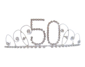 50th Birthday Diamante Crystal Tiara - Silver Plated Finish