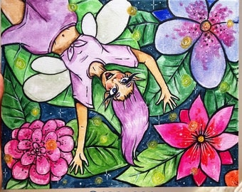 Flower Fae Watercolour Painting