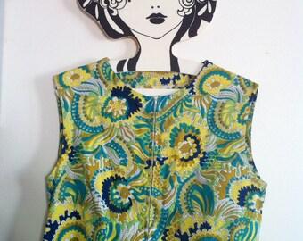 60s sleeveless mini dress, heavy cotton psychedelic mod print / small