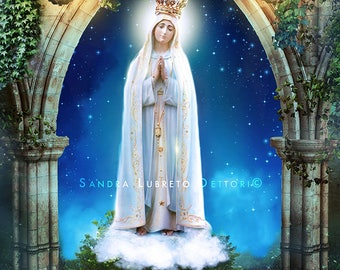 "Virgin Mary Starry Night, Our Lady of Fatima,Catholic art, 8x10"" or 11x14"" religious print, wall decor a perfect religious gift idea."