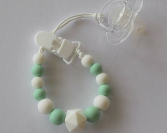 Mint + White Silicone Pacifier Clip/Dummy Clip/Baby Teether/Pacifier Clip/Soother Clip/Babyshower Gift
